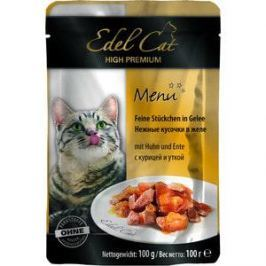 Паучи Edel Cat Menu нежные кусочки в желе с курицей и уткой для кошек 100г (08106)