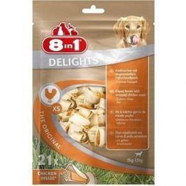 Лакомство 8in1 DELIGHTS XS Chicken косточки 7,5см сверхпрочные с курицейдля собак мелких пород (21шт)