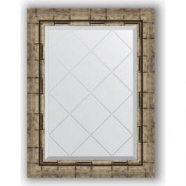 Зеркало с гравировкой поворотное Evoform Exclusive-G 53x71 см, в багетной раме - серебряный бамбук 73 мм (BY 4007)