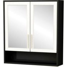 Зеркальный шкаф Меркана Нотти 60 см,цвет корпуса черный, фасад белый (30654)
