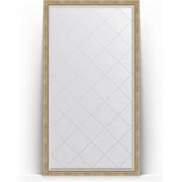 Зеркало напольное с гравировкой поворотное Evoform Exclusive-G Floor 108x198 см, в багетной раме - состаренное серебро с плетением 70 мм (BY 6342)