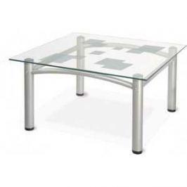 Стол журнальный Мебелик Робер 2М металлик/прозрачное