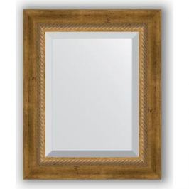 Зеркало с фацетом в багетной раме Evoform Exclusive 43x53 см, состаренное бронза с плетением 70 мм (BY 3354)