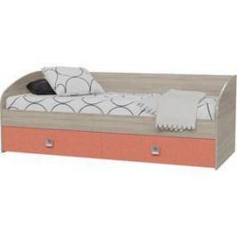Кровать односпальная с двумя ящиками Гранд Кволити Сити 4-2001 дуб сонома/коралл