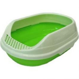 Туалет HomeCat средний овальный зеленый в комплекте с совком для кошек 52х38х17 см