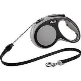Рулетка Flexi New Comfort М трос 5м черный/серый для собак до 20кг