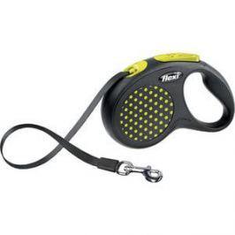 Рулетка Flexi Design S лента 5м черная/желтый горошек для собак до 15кг