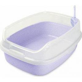 Туалет Makar прямоугольный большой с бортом сиреневый для кошек 62x46x25 см (МАК34)