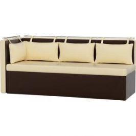 Кухонный угловой диван АртМебель Метро эко-кожа бежево-коричневый угол левый