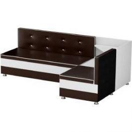 Кухонный диван АртМебель Милан эко-кожа коричнево-белый правый