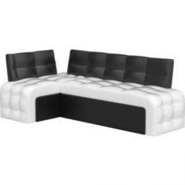 Кухонный угловой диван АртМебель Люксор эко-кожа (бело/черный) угол левый