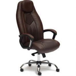 Кресло TetChair BOSS люкс хром кож/зам, коричневый/коричневый перфорированный, 36-36/36-36/06
