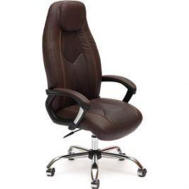 Кресло TetChair BOSS хром кож/зам, коричневый/коричневый перфорированный, 36-36/36-36/06