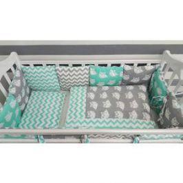 Комплект в кроватку с бортиками-подушками By Twinz 6 пр. Совята мятные