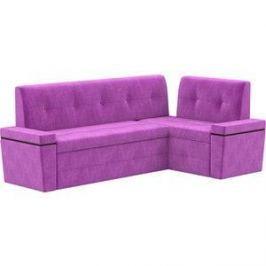 Кухонный угловой диван АртМебель Деметра микровельвет (фиолетовый) правый угол