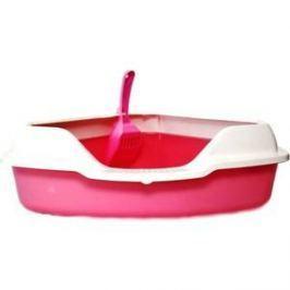 Туалет HomeCat угловой с бортиком розовый в комплекте с совком для кошек 56х42х18 см