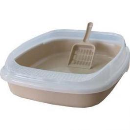 Туалет Makar средний с бортом без решетки бежевый для кошек 46х36х11 см (МАК02)