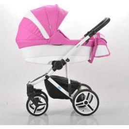 Коляска Mr Sandman Vector Premium (2 в 1) 50% кожа Белый Перфорированный - Розовый в Принт (KMSVP50-0713CH01)