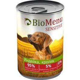 Консервы BioMenu Sensitive Индейка, кролик 95% индейка, кролик и мясные компоненты для собак 410г