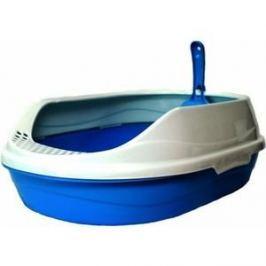 Туалет HomeCat малый овальный голубой в комплекте с совком для кошек 43х31х16 см