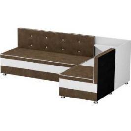 Кухонный диван АртМебель Милан микровельвет коричнево-белый правый