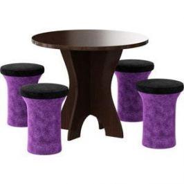 Обеденная группа АртМебель Лотос микровельвет (фиолетово/черный, 4-пуфа)