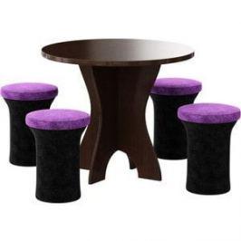 Обеденная группа АртМебель Лотос микровельвет (черно/фиолетовый, 4-пуфа)