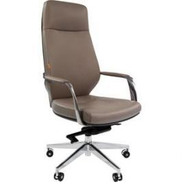 Кресло Chairman 920 кожа/кз, светло-серый/темно-серый