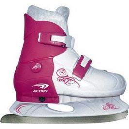Коньки ледовые раздвижные Action PW-219-1 р. 37-40 (розовый/белый)