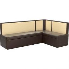 Кухонный угловой диван АртМебель Кристина эко-кожа коричнево/бежевый правый