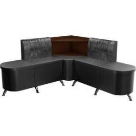 Кухонный угловой диван АртМебель Лиза эко-кожа черный правый