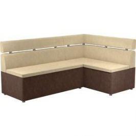 Кухонный угловой диван АртМебель Классик микровельвет бежево/коричневый правый