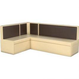 Кухонный угловой диван АртМебель Кристина эко-кожа бежево/коричневый левый