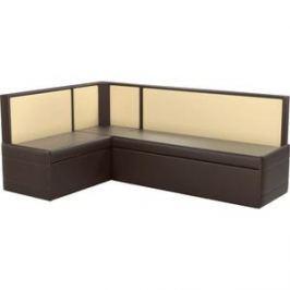 Кухонный угловой диван АртМебель Кристина эко-кожа коричнево/бежевый левый