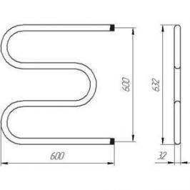 Полотенцесушитель водяной Тера М-образный 600х600 мм (ПСВ-05-10)