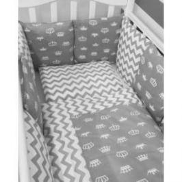 Комплект в кроватку By Twinz с бортиками-подушками 6 пр. Короны серые