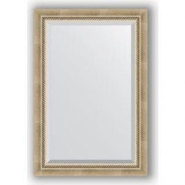 Зеркало с фацетом в багетной раме поворотное Evoform Exclusive 63x93 см, состаренное серебро с плетением 70 мм (BY 1172)