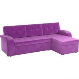 Угловой диван АртМебель Классик микровельвет фиолетовый правый угол