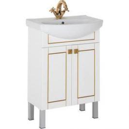 Тумба с раковиной Aquanet Честер 60 белый/золото (186104+182641)