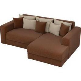 Угловой диван АртМебель Медисон рогожка коричневый правый угол