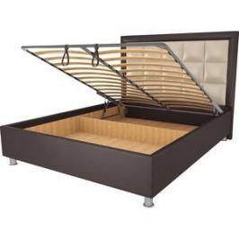 Кровать OrthoSleep Альба шоколад-бисквит механизм и ящик 200х200