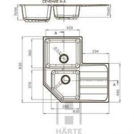 Мойка кухонная HARTE H-9083EZ-308 830х830 мм чёрный