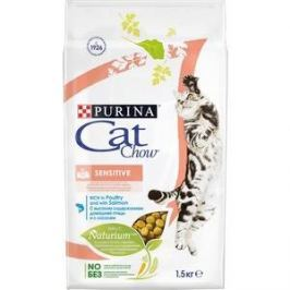 Сухой корм CAT CHOW Adult Sensitive rich in Poultry and Salmon с домашней птицей и лососем для кошек с чувствительным пищеварением 1,5кг (12123733)