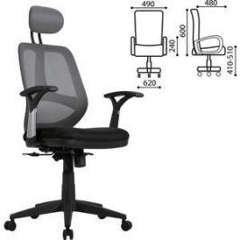 Кресло оператора Brabix Saturn ER-400 с подголовником черное/серое 530871