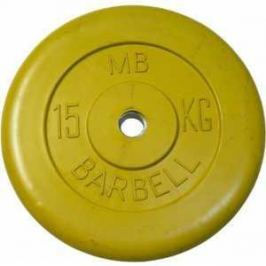 Диск обрезиненный MB Barbell 51 мм 15 кг желтый