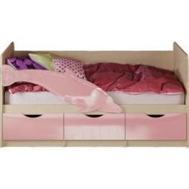 Кровать Миф Дельфин 1 дуб беленый/розовый 1,6 м
