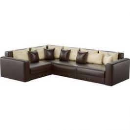 Угловой диван АртМебель Мэдисон Long эко-кожа коричневый бежевый/коричневый левый угол