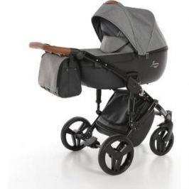 Детская коляска 2 в 1 Junama MADENA JM-03 (черный/серый лен)