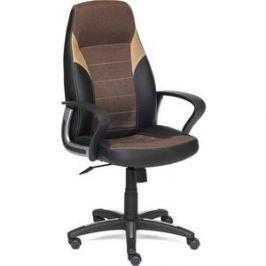 Кресло TetChair INTER кожзам/ткань черный/коричневый/бронзовый 36-6/ЗМ7-147/21