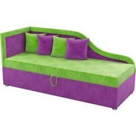 Детский диван АртМебель Дюна микровельвет зелено-фиолетовый левый угол